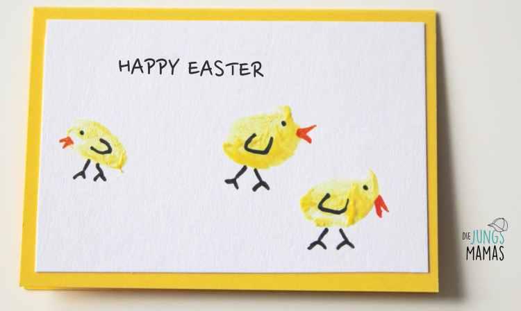 Einfache Osterkarten aus Fingerabdrücken - Die JungsMamas