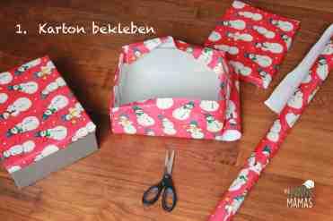 Weihnachtspäckchen Aktion_Karton bekleben