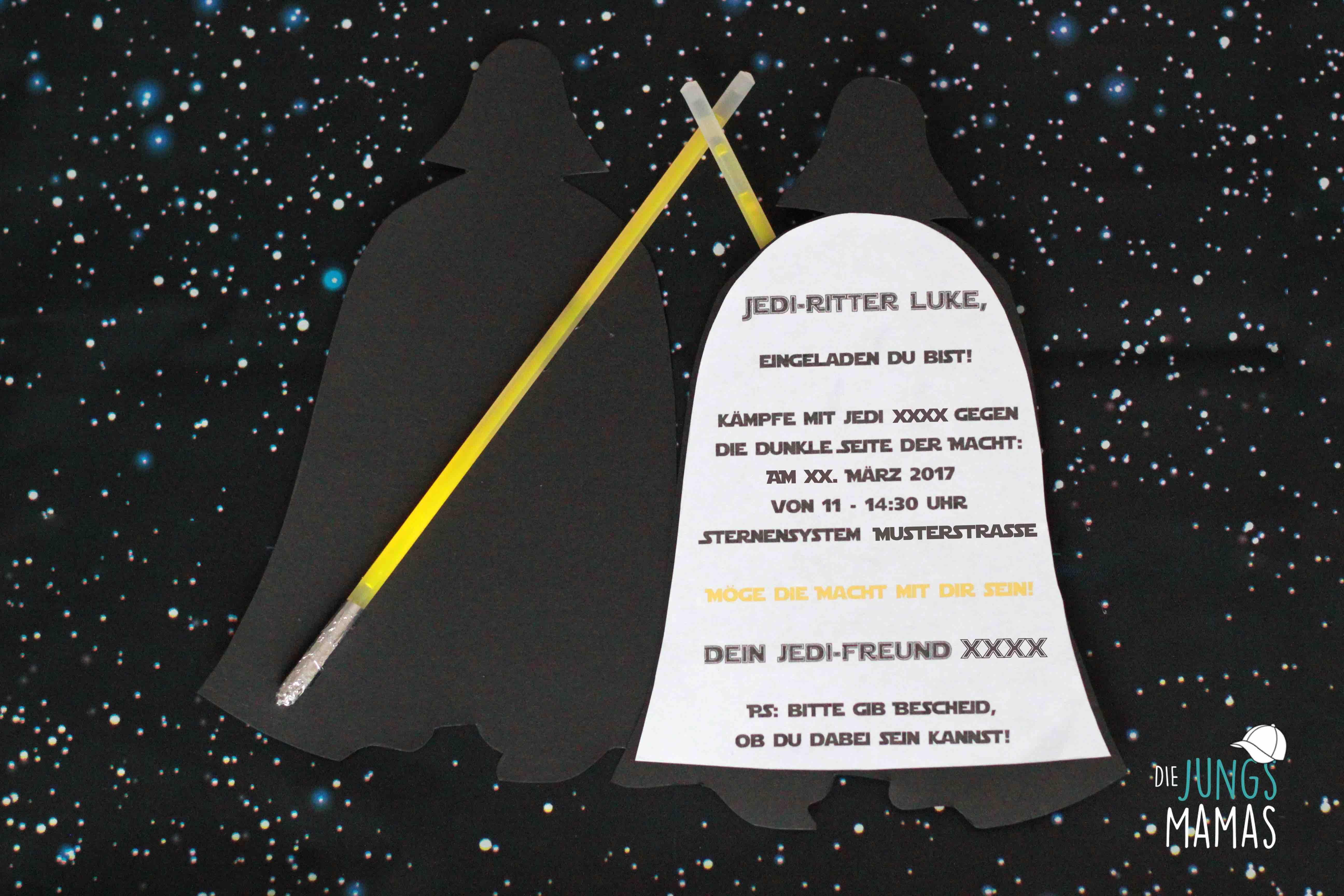 Star Wars Einladung Darth Vader Vorder  Und Rückseite _ Die JungsMamas