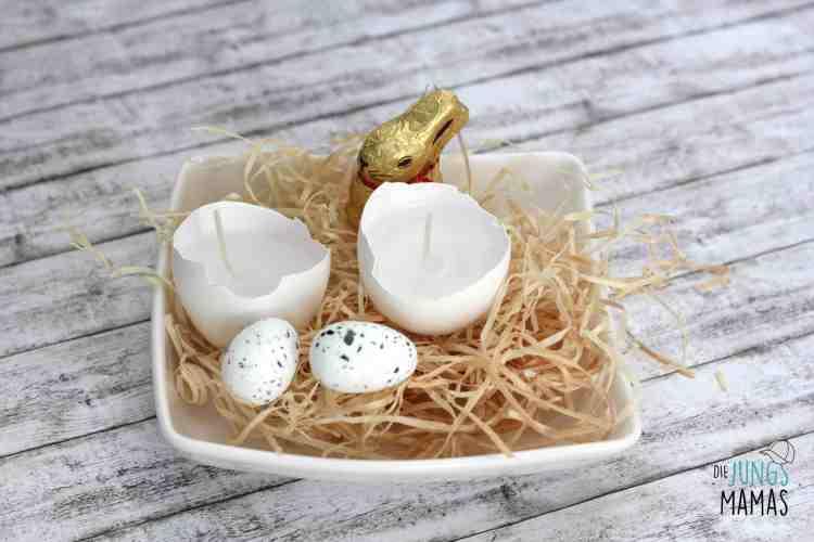 Osternest mit selbstgemachte Eierschalen-Kerzen_Die JungsMamas